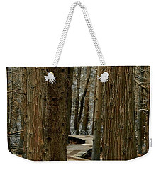 Weekender Tote Bag featuring the photograph Boardwalk Among Trees by Scott Holmes
