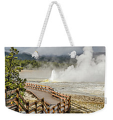 Weekender Tote Bag featuring the photograph Boardwalk Overlooking Spasm Geyser by Sue Smith