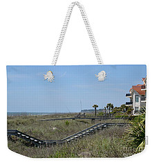 Weekender Tote Bag featuring the photograph Boardwalks And Sand Dunes by Carol  Bradley