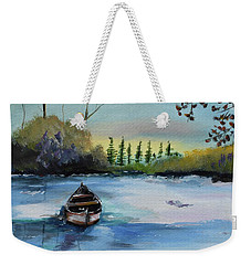 Weekender Tote Bag featuring the painting Boat Abandoned On The Lake by Jan Dappen