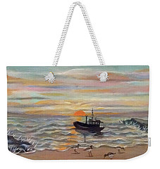 Boat At Dawn Weekender Tote Bag