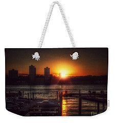 Boat Basin Gold - Sunset In New York Weekender Tote Bag by Miriam Danar