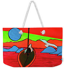 Weekender Tote Bag featuring the painting Boat, Bird And Moon by Jeanette French