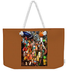 Weekender Tote Bag featuring the photograph Crab Pot Buoys by Thom Zehrfeld
