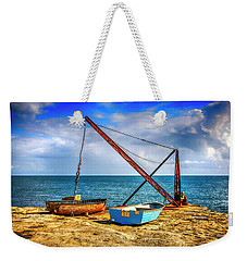 Boat Crane At Portland Uk Weekender Tote Bag by Chris Smith