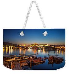 Boat Dock Near St. Vitus Cathedral, Prague, Czech Republic. Weekender Tote Bag