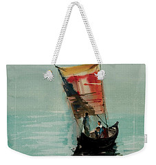 Weekender Tote Bag featuring the painting Boat by Helal Uddin