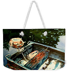 Weekender Tote Bag featuring the painting Boat In Fog 2 by Marilyn Jacobson