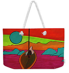 Weekender Tote Bag featuring the painting Boat Moonrise by Jeanette French