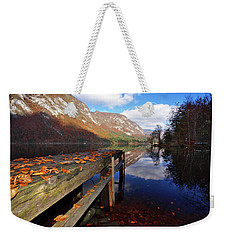 Boat Mooring At Lake Bohijn Weekender Tote Bag by Graham Hawcroft pixsellpix