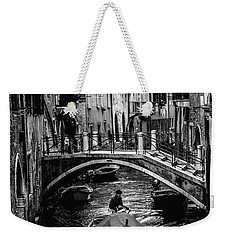 Weekender Tote Bag featuring the photograph Boat On The River-bw by Okan YILMAZ
