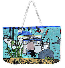 Weekender Tote Bag featuring the painting Boat On The Shore by Artists With Autism Inc