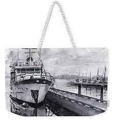 Boat On Waterfront Marina Kirkland Washington Weekender Tote Bag by Olga Shvartsur
