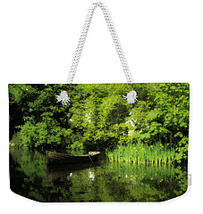 Boat Reflected On Water County Clare Ireland Painting Weekender Tote Bag