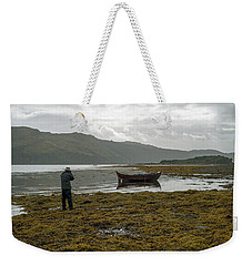 Boat Seaweed And Photographer In Isle Of Skye, Uk Weekender Tote Bag
