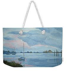 Boat Sunset Weekender Tote Bag