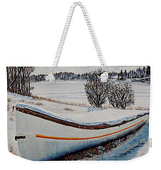 Weekender Tote Bag featuring the painting Boat Under Snow by Marilyn  McNish