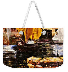 Boat With Golden Sail,san Vigilio  Weekender Tote Bag by Cristina Mihailescu
