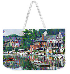 Weekender Tote Bag featuring the photograph Boathouse Row In Philadelphia by Bill Cannon