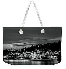 Boathouse Row Philadelphia Pa Night Black And White Weekender Tote Bag
