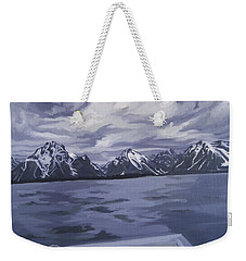Weekender Tote Bag featuring the painting Boating Jenny Lake, Grand Tetons by Erin Fickert-Rowland