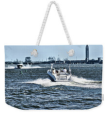 Boating Off Of Jones Beach Weekender Tote Bag