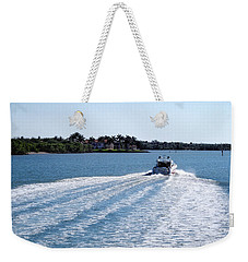 Weekender Tote Bag featuring the photograph Boating On Naples' Inland Waterway by Lars Lentz