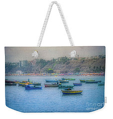 Weekender Tote Bag featuring the photograph Boats In Blue Twilight - Lima, Peru by Mary Machare
