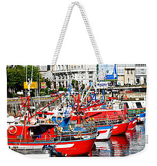 Boats In The Harbor - La Coruna Weekender Tote Bag