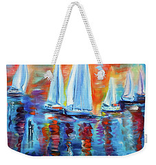 Boats In The Sunset Weekender Tote Bag