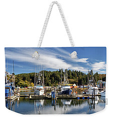 Weekender Tote Bag featuring the photograph Boats In Winchester Bay by James Eddy