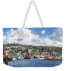 Boats In Yaquina Bay Weekender Tote Bag by James Eddy