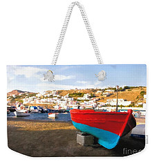Weekender Tote Bag featuring the photograph Boats Of Mykonos by Mel Steinhauer