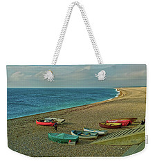 Weekender Tote Bag featuring the photograph Boats On Chesil Beach by Anne Kotan