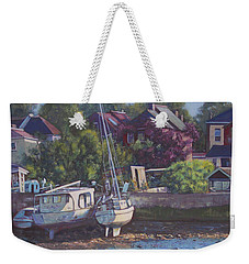 Weekender Tote Bag featuring the painting Boats On Riverside Park Bank by Martin Davey