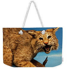 Weekender Tote Bag featuring the digital art Bobcat On A Branch by Chris Flees