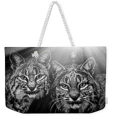 Weekender Tote Bag featuring the mixed media Bobcats by Elaine Malott