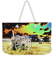 Weekender Tote Bag featuring the photograph Bodie Wagon by Jim and Emily Bush