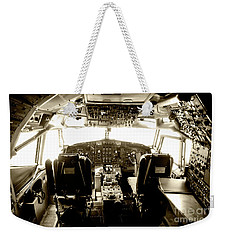 Weekender Tote Bag featuring the photograph Boeing 747 Cockpit 21 by Micah May