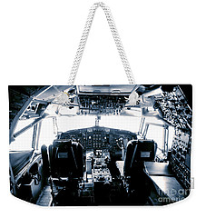 Weekender Tote Bag featuring the photograph Boeing 747 Cockpit 22 by Micah May