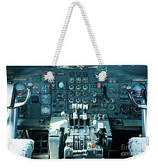 Weekender Tote Bag featuring the photograph Boeing 747 Cockpit 23 by Micah May