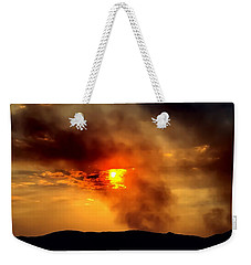 Weekender Tote Bag featuring the photograph Bogart Fire Sunset by Chris Tarpening