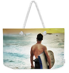 Boggie Boarder At Waimea Bay Weekender Tote Bag by Jim Albritton