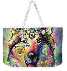 Collie Weekender Tote Bag by Patricia Lintner
