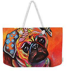 Pug Weekender Tote Bag by Patricia Lintner