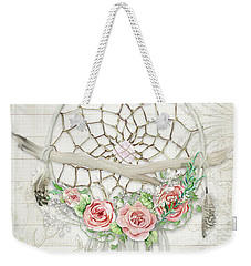 Weekender Tote Bag featuring the painting Boho Western Dream Catcher W Wood Macrame Feathers And Roses Dream Beautiful Dreams by Audrey Jeanne Roberts