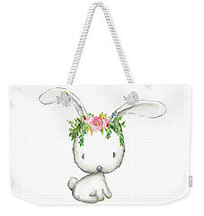 Boho Woodland Bunny Floral Watercolor Weekender Tote Bag