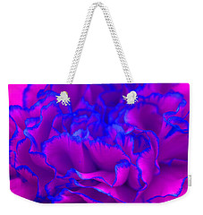 Weekender Tote Bag featuring the photograph Bold Fuschia Pink And Blue Carnation Flower by Shelley Neff