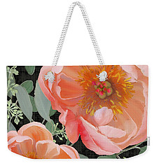 Weekender Tote Bag featuring the painting Bold Peony Seeded Eucalyptus Leaves by Audrey Jeanne Roberts