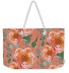 Weekender Tote Bag featuring the painting Bold Peony Seeded Eucalyptus Leaves Repeat Pattern by Audrey Jeanne Roberts